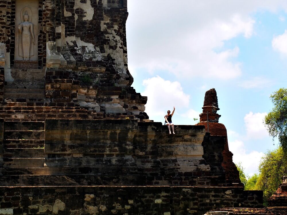 Audrey on temple ruin - Ayutthaya Historical Park