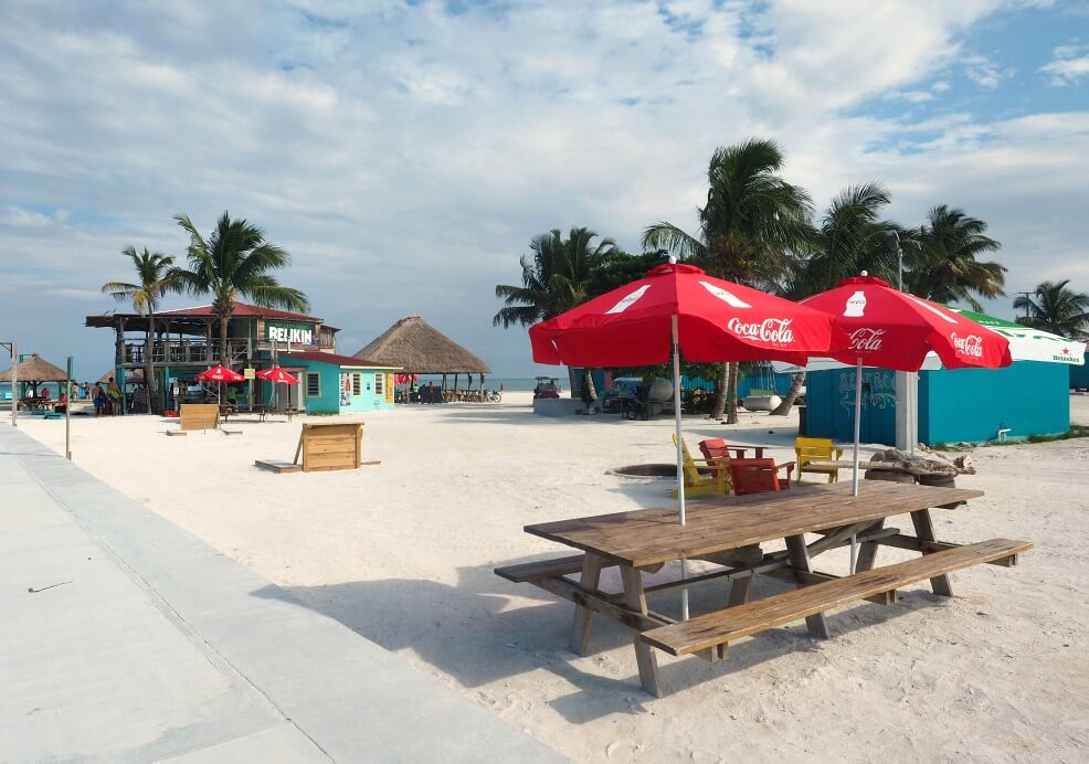 Bar and tables at The Split Caye Caulker