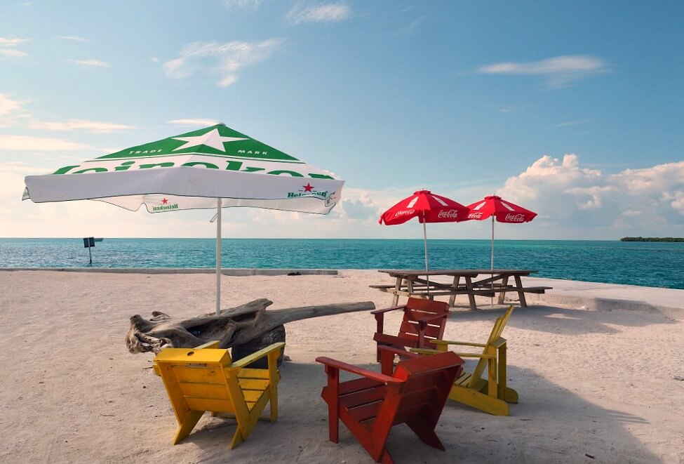 Colourful chairs at The Split Caye Caulker