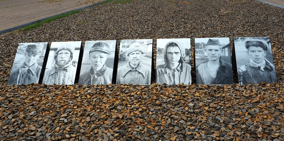 A photo memorial of prisoners at Sachsenhausen Concentration Camp