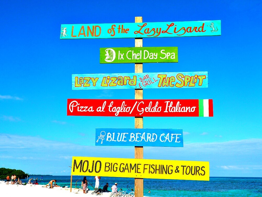Colourful wooden sign