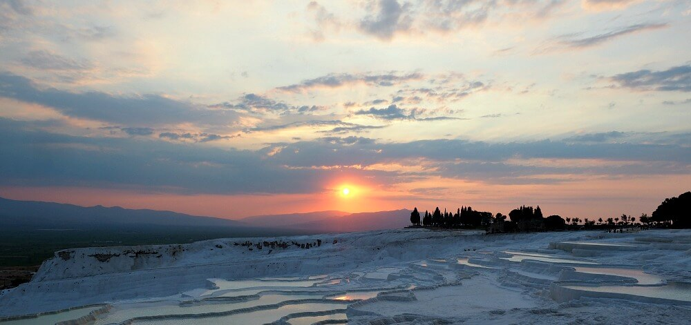 Sunset over the travertines - Pamukkale