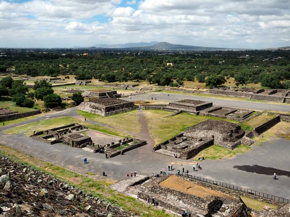 View of Teotihuacan platforms from above